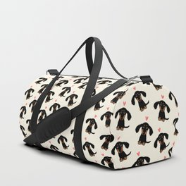 Dachshund Love | Cute Longhaired Black and Tan Wiener Dog Duffle Bag