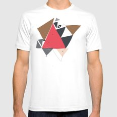 Exploding Triangles//Two White Mens Fitted Tee MEDIUM
