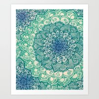 colour Art Prints featuring Emerald Doodle by micklyn