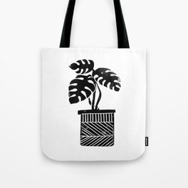 Monstera cheese plant house plant black and white minimal modern linocut art Tote Bag