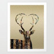Deer Gold Art Print