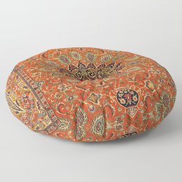 Central Persia Qum Old Century Authentic Colorful Orange Yellow Green Vintage Patterns Floor Pillow