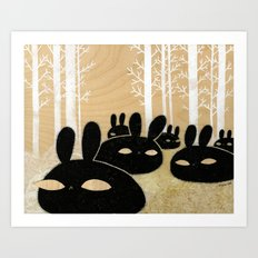 Suspicious Bunnies Art Print