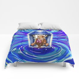 11th Doctor with Blue Phone box in time vortex Comforters