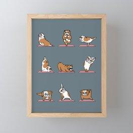 English Bulldog Yoga Framed Mini Art Print