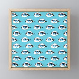 Blue Eyes Pattern On Blue Framed Mini Art Print