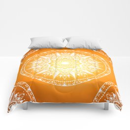 Sunset mandala Comforters
