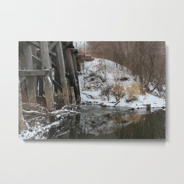 Winter River-Train Bridge Photo  Metal Print