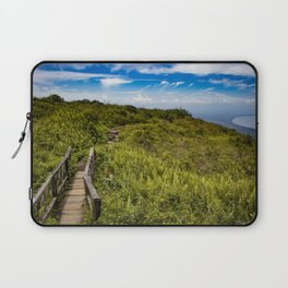 Beautiful Wooden Bridge Leading up to a Lake View on top of Mombacho Volcano, Nicaragua Laptop Sleeve