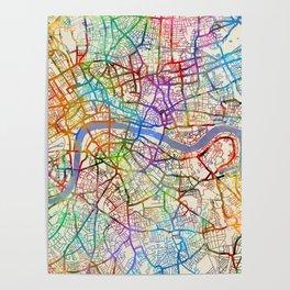 London England City Street Map Poster