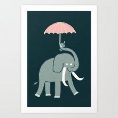 Elephant with umbrella Art Print