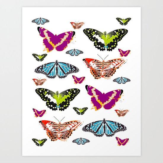 Butterflies 2 White Art Print