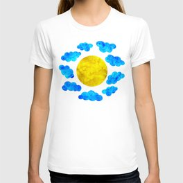 Cute blue cartoon clouds and sun. T-shirt
