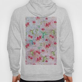 Vintage Watercolor hummingbird and Fuchsia Flowers on pink Background Hoody