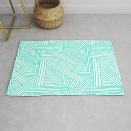 Sketchy Abstract (Turquoise & White Pattern) Rug