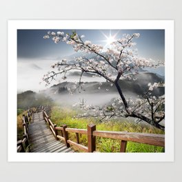 Japanese Cherry Landscape Art Print
