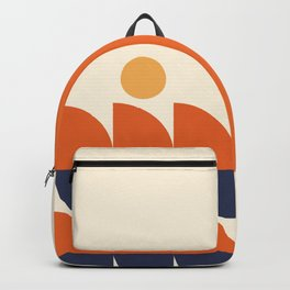 Abstract Shapes 40 in Burnt Orange and Navy Blue (Sunrise or Sunset over the Ocean) Backpack