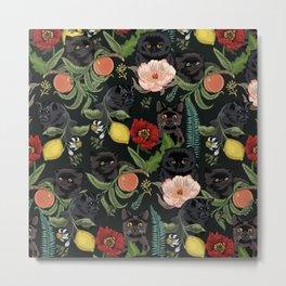 Botanical and Black Cats Metal Print