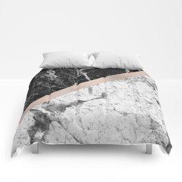 Monochrome marble designer - rose gold Comforters