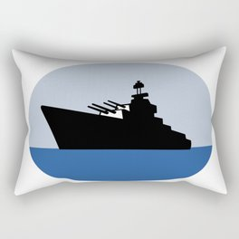 World War Two Battleship Destroyer Oval Retro Rectangular Pillow