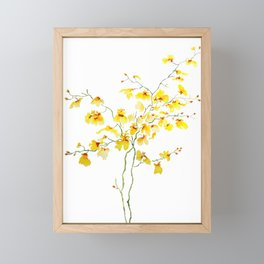 yellow Oncidium Orchid watercolor Framed Mini Art Print