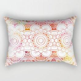 Trendy elegant coral watercolor floral mandala  Rectangular Pillow