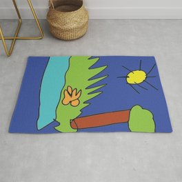 River's time Illustration, real kids drawings arts created by children Rug