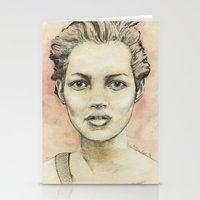kate moss Stationery Cards featuring Kate Moss by Matthäus Rojek