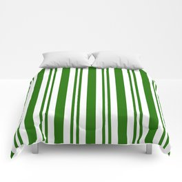 Green and white vertical stripes Comforters
