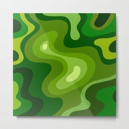 Multi Color Green Liquid Abstract Design Metal Print