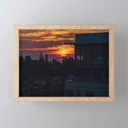 Bellevue Washington Fiery Sky Framed Mini Art Print