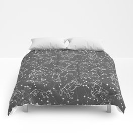 Constellations animal constellations stars outer space night sky pattern by andrea lauren grey Comforters