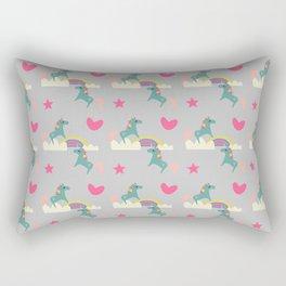 unicorn and rainbow gray Rectangular Pillow