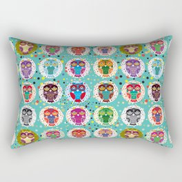 funny colored owls on a turquoise background Rectangular Pillow