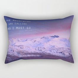 The mountains are calling, and i must go. John Muir. Rectangular Pillow