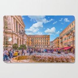 People in Nice Plaza with Fountain Cutting Board