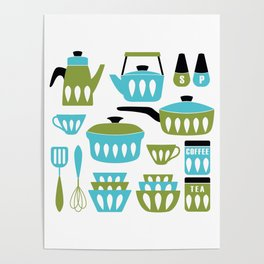 My Midcentury Modern Kitchen In Aqua And Avocado Poster