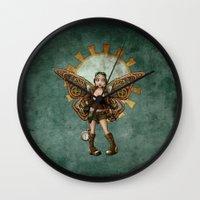 steam punk Wall Clocks featuring Steam Punk Pilot Faery by Hafapea