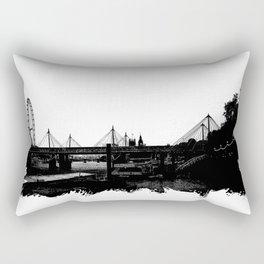 Thames skyline in black and white, London, UK Rectangular Pillow