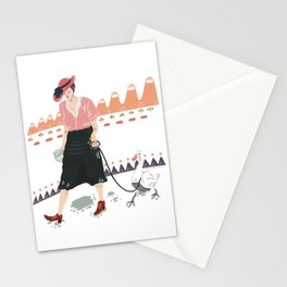 Woman with duck Stationery Cards