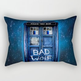 Phone box doctor with Bad wolf graffiti Rectangular Pillow