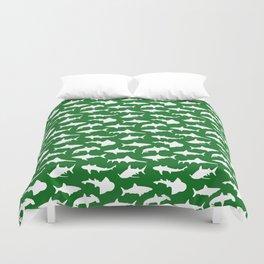 Sharks on Jewel Green Duvet Cover