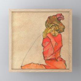 """Egon Schiele """"Kneeling Female in Orange-Red Dress"""" Framed Mini Art Print"""
