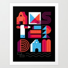 Postcards from Amsterdam / Typography Art Print
