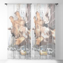 Selfie Giraffe in New York Sheer Curtain