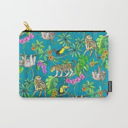 Rainforest Friends - watercolor animals on textured teal Carry-All Pouch