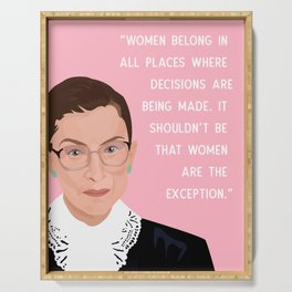 Notorious RBG Women Belong Quote Print in Pink  Serving Tray