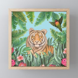 Tropical tiger jungle, tropical flowers Framed Mini Art Print