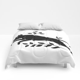Jumping Dog With Leaves –black palette Comforters