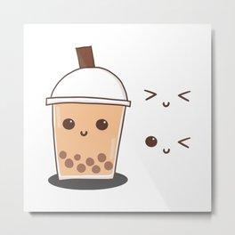 Milk bubble tea with cute face doodle Metal Print
